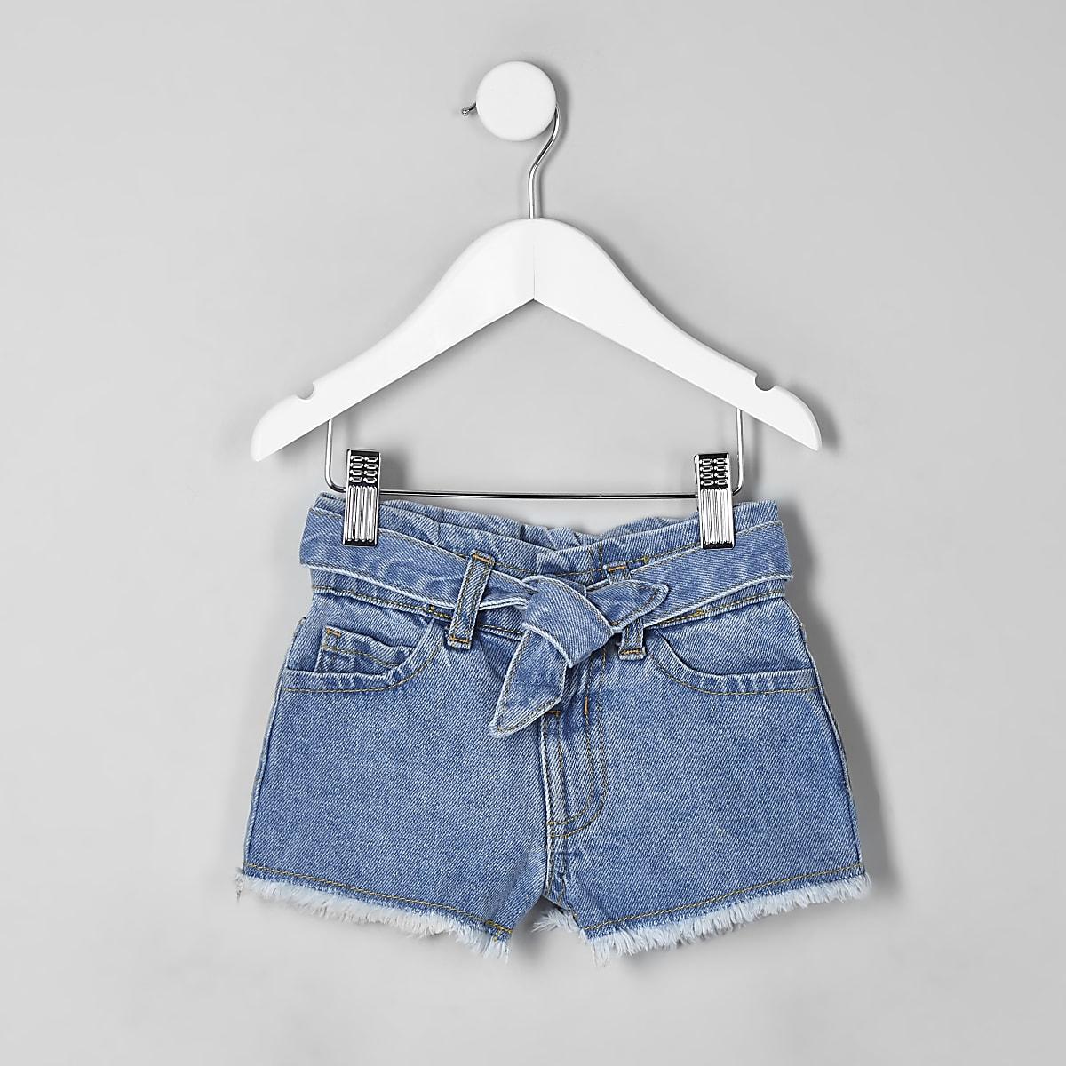 Mini girls blue paperbag denim shorts