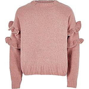Roze chenille gebreide pullover met ruches voor meisjes