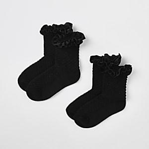 Mini girls black velvet trim socks multipack