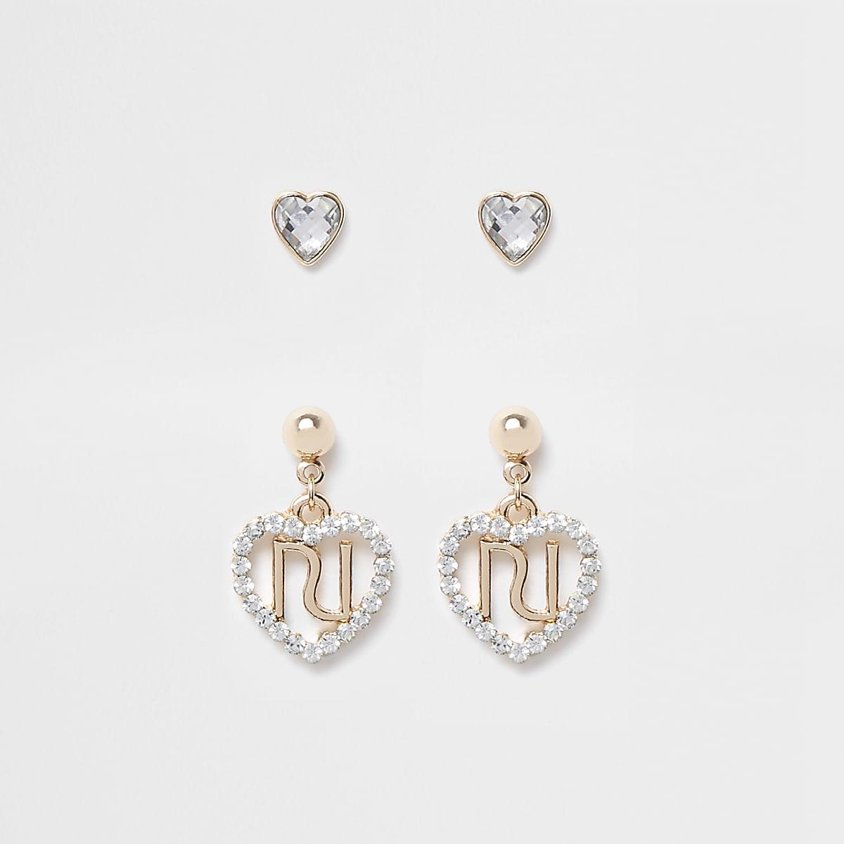 Girls RI rhinestone heart earrings multipack