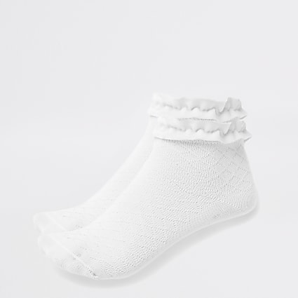 Girls white velvet trim socks multipack