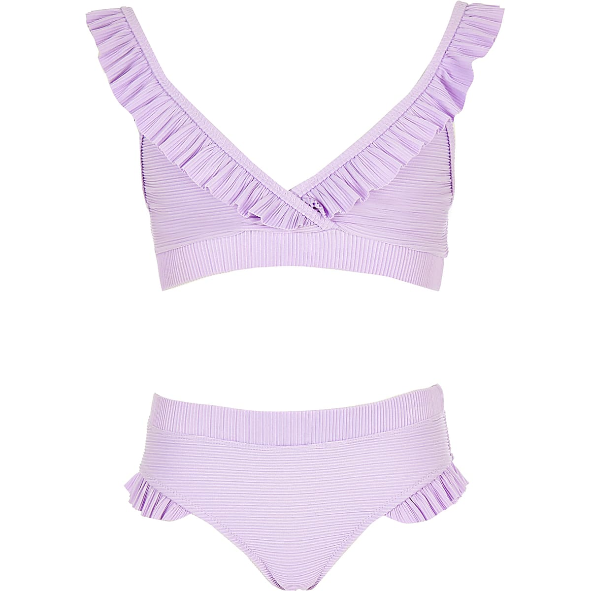 Girls purple frill triangle bikini set