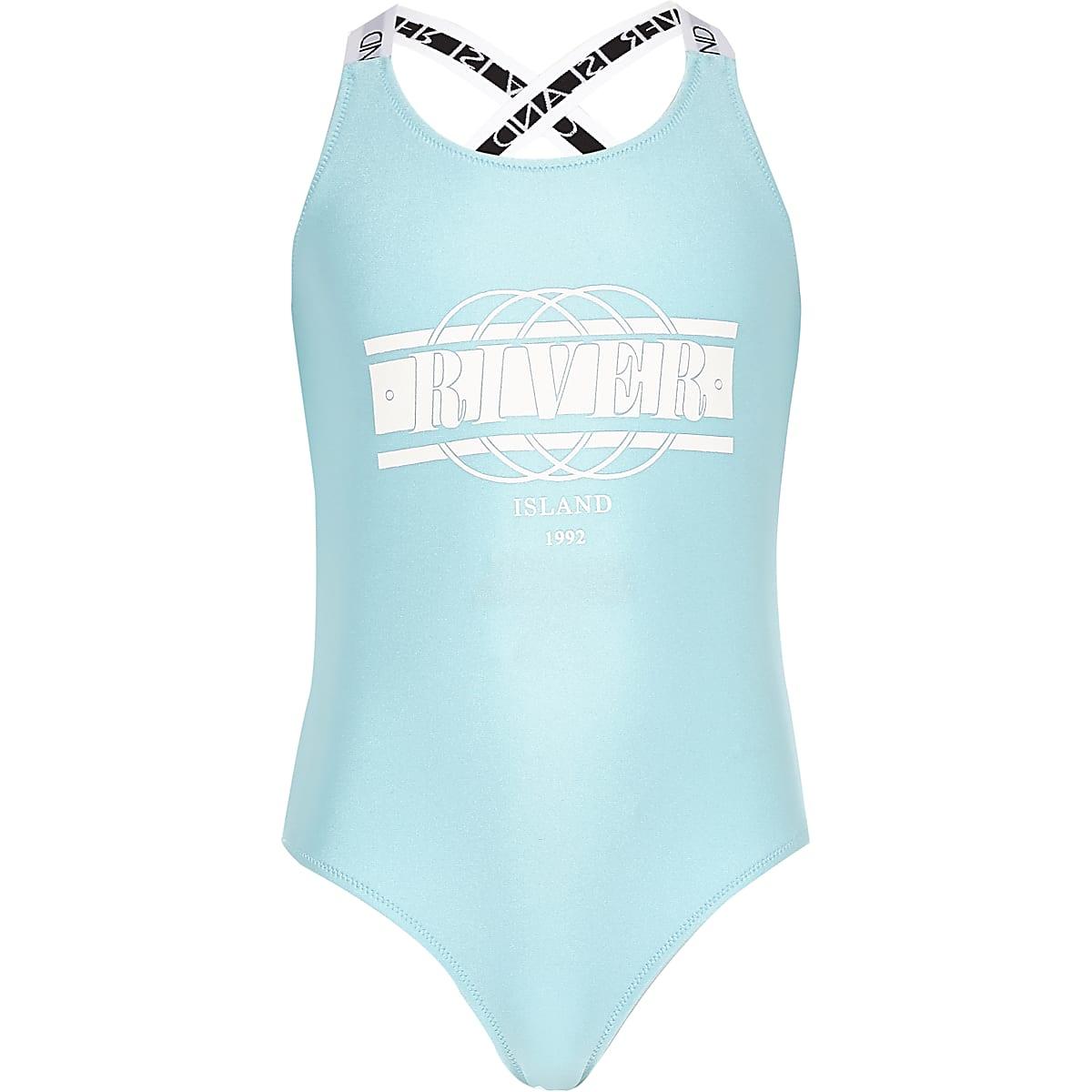 Girls blue RI print swimsuit