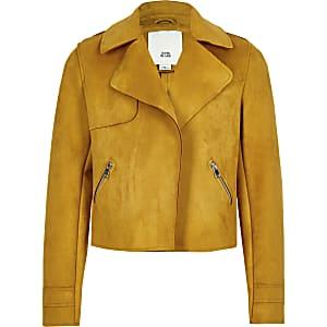 Girls yellow faux suede crop jacket