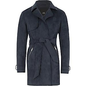 Marineblauwe cropped trenchcoat van imitatiesuède voor meisjes