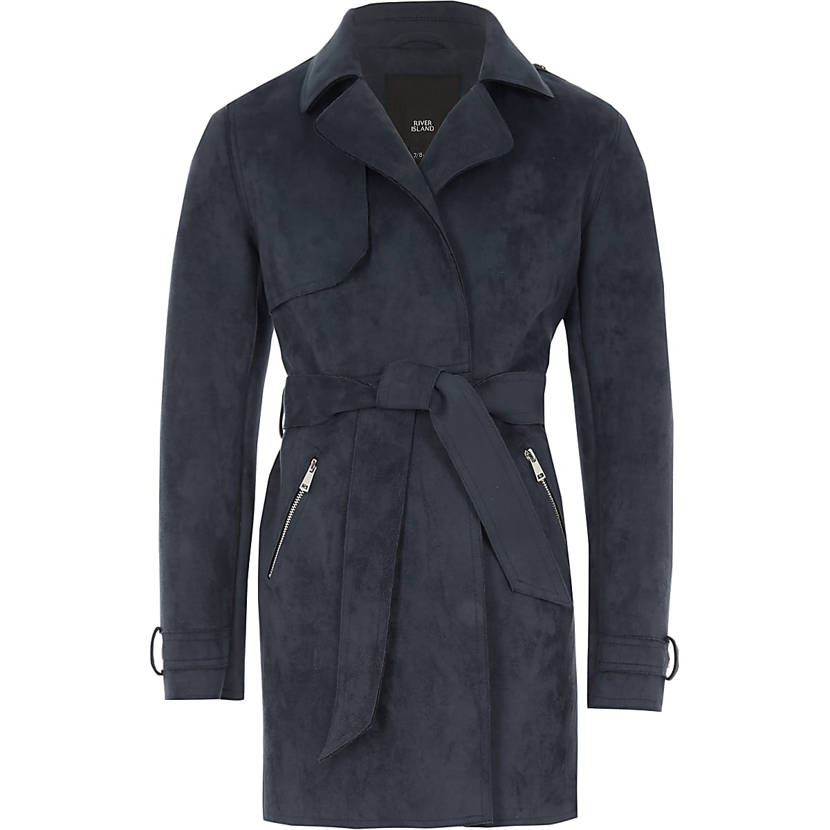 d038b2290 Girls navy faux suede cropped trench jacket