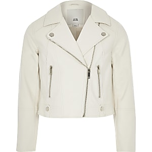 Girls white faux leather biker jacket