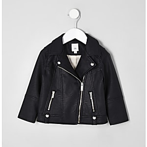 d7615225391a Mini girls black faux leather biker jacket