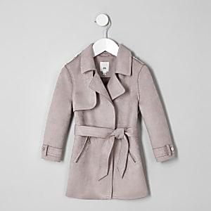 Mini - Paarse trenchcoat van imitatiesuède voor meisjes