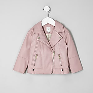 Mini girls pink faux leather biker jacket