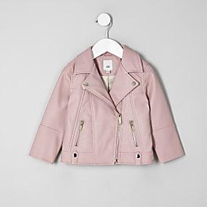 Perfecto en cuir synthétique rose mini fille