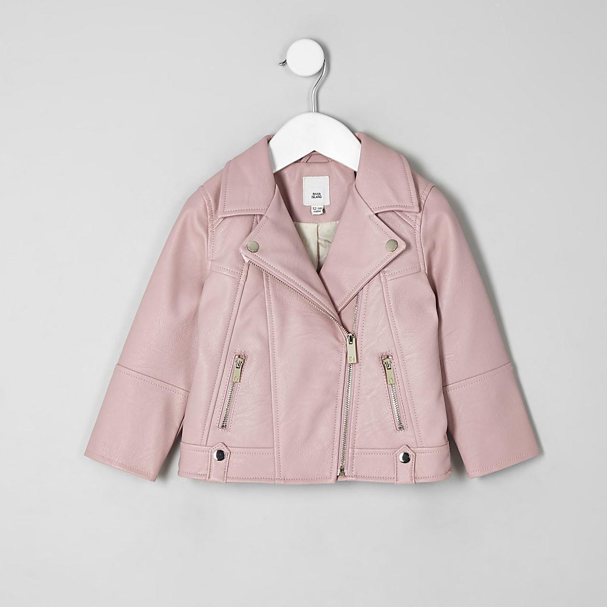 Mini girls pink faux leather biker jacket