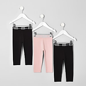 Mini girls black RI leggings multipack