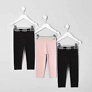Mini - Multipack zwarte leggings met RI-logo voor meisjes