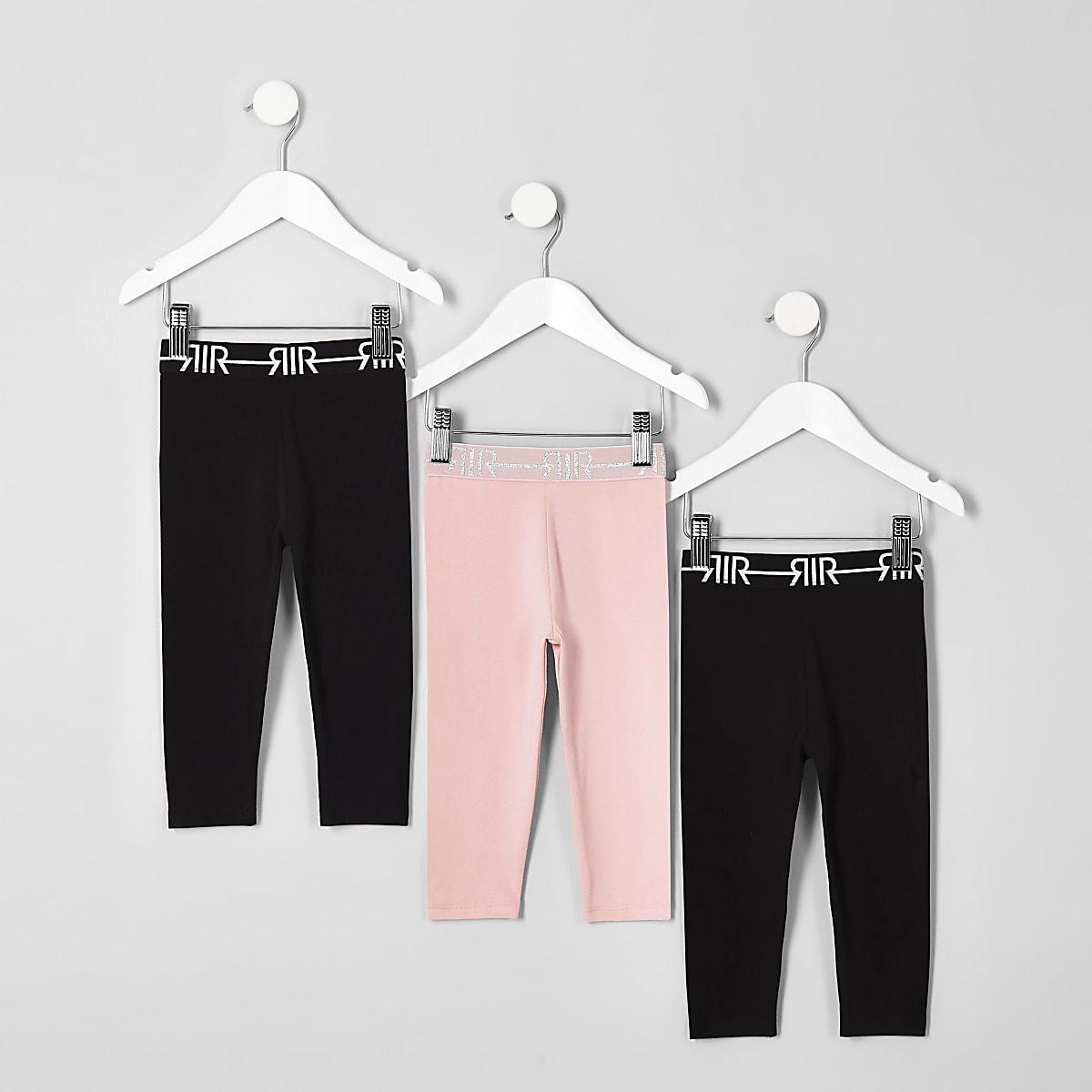 Mini girls black RI leggings multipack