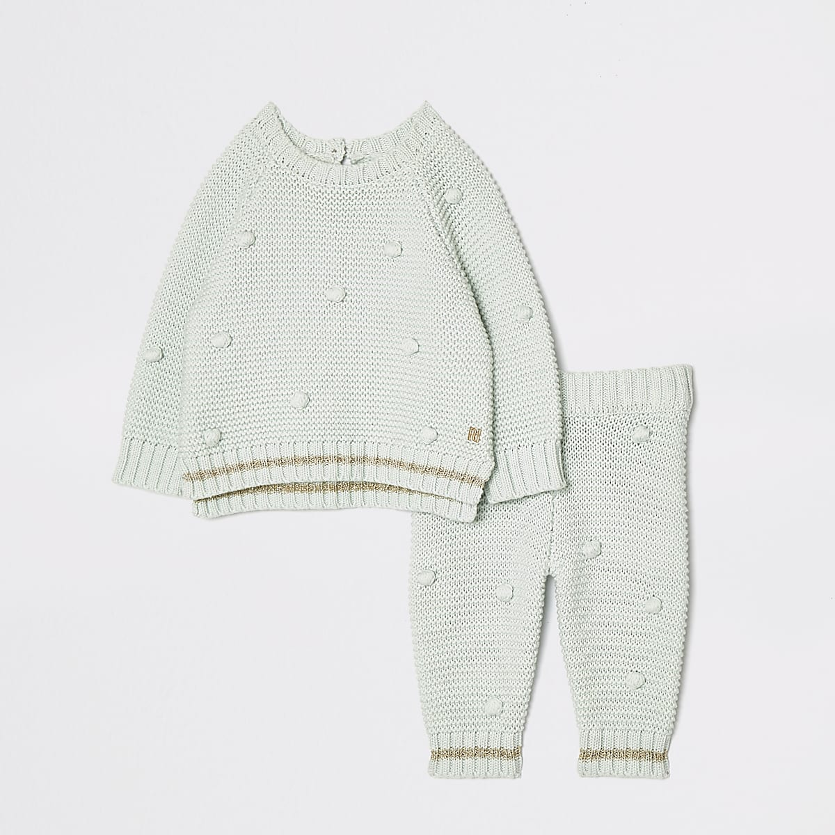 Baby green bobble knit set
