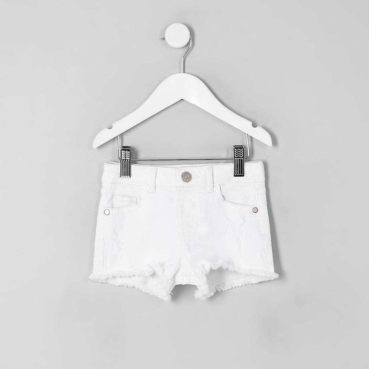 Mini girls white ripped denim shorts