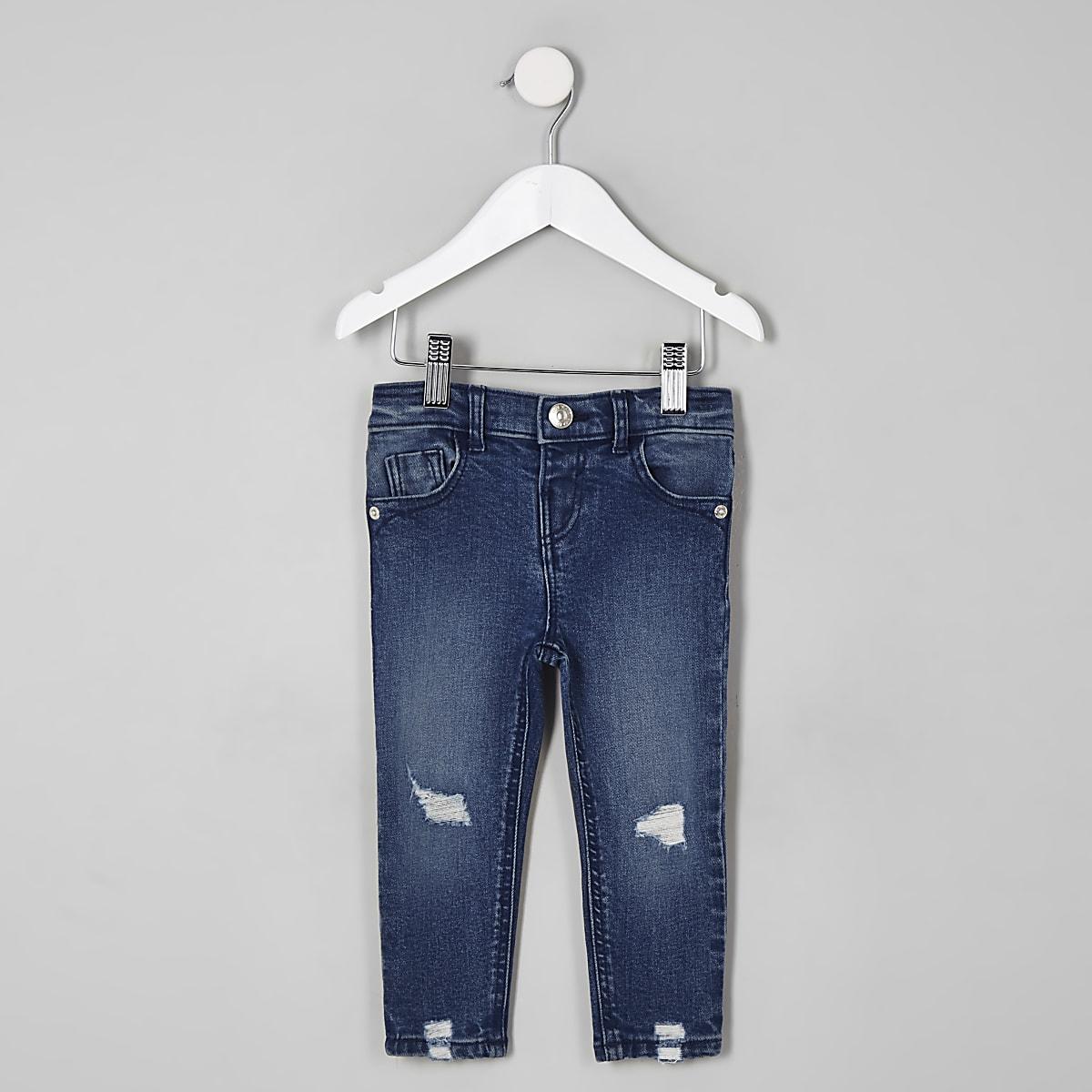 Mini - Amelie - Donkerblauwe wash ripped jeans voor meisjes