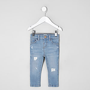 Mini girls blue Amelie ripped skinny jeans