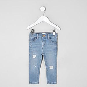 Mini girls blue Amelie ripped skinny jeans