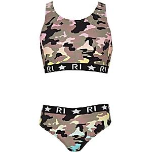 Tankini camouflage kaki à logo RI pour fille