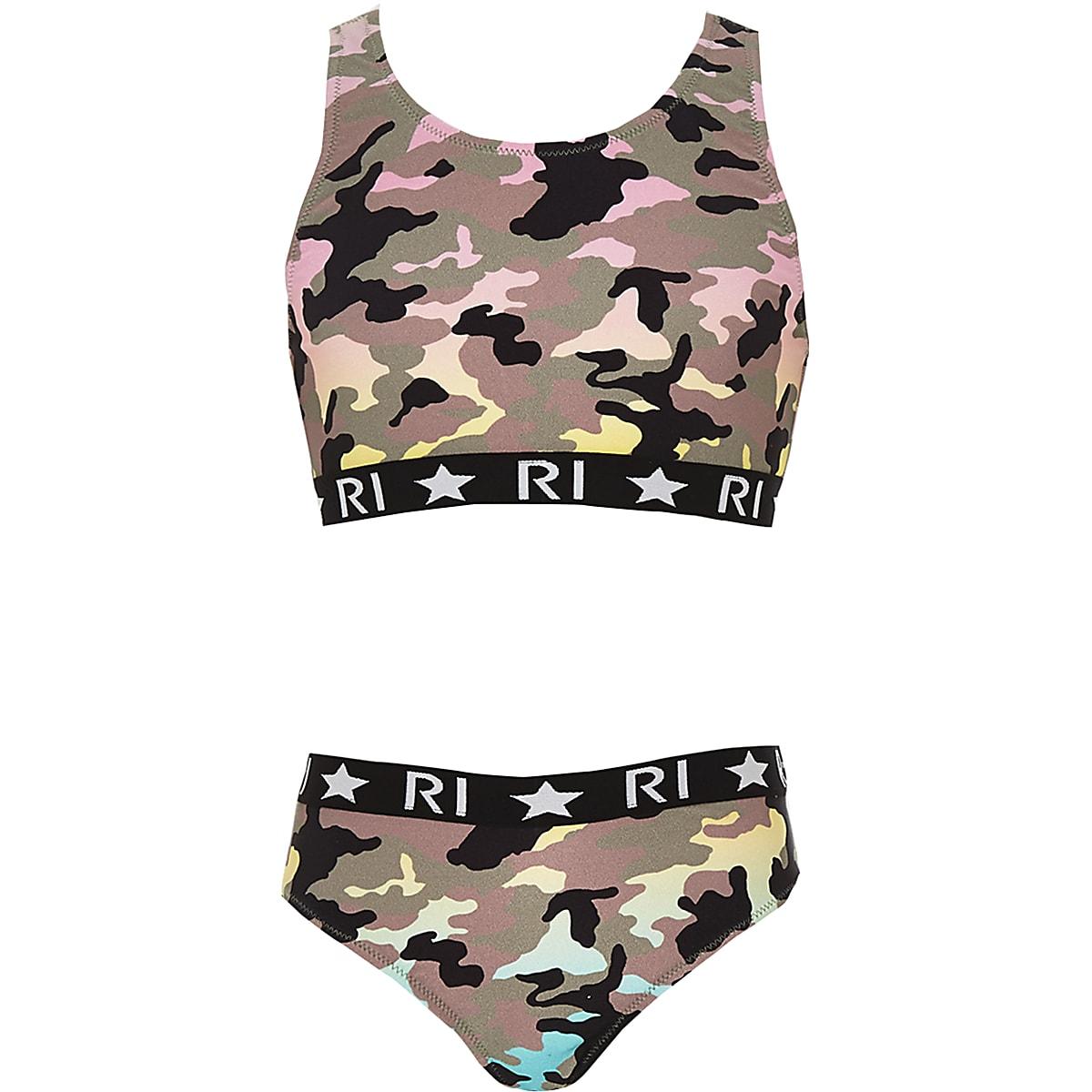 Girls khaki camo print RI bikini set