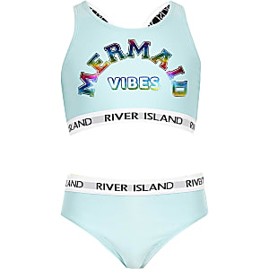 Girls blue 'Mermaid vibes' RI crop tankini