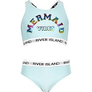 Bikini court « Mermaid vibes » bleu à logo RI pour fille