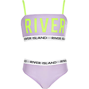 Girls purple 'River' neon bikini set