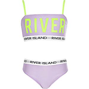 Bikini violet à inscription « River » fluo pour fille