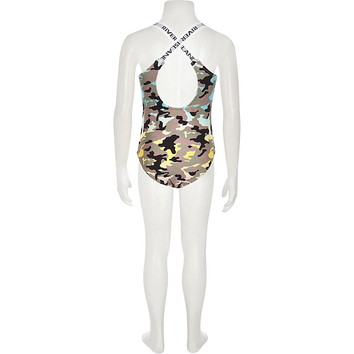 fa1782c48f90f Girls khaki camo print sequin swimsuit - Swimsuits - Swimwear ...