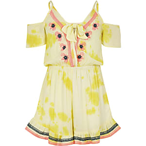Girls yellow embroidered beach romper