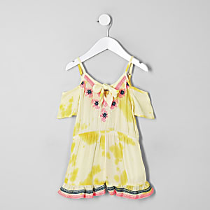 Mini girls yellow embroidered beach romper