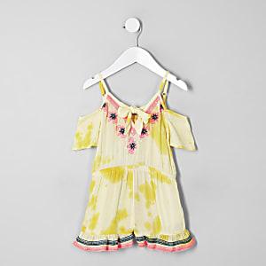 Combi-short de plage jaune brodé mini fille