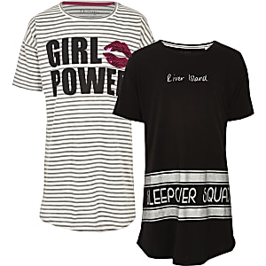Girls grey stripe 'girl power' pajama set