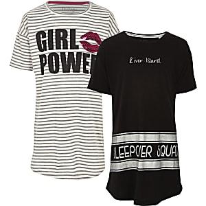 Grijze gestreepte pyjamaset met 'girl power'-print voor meisjes