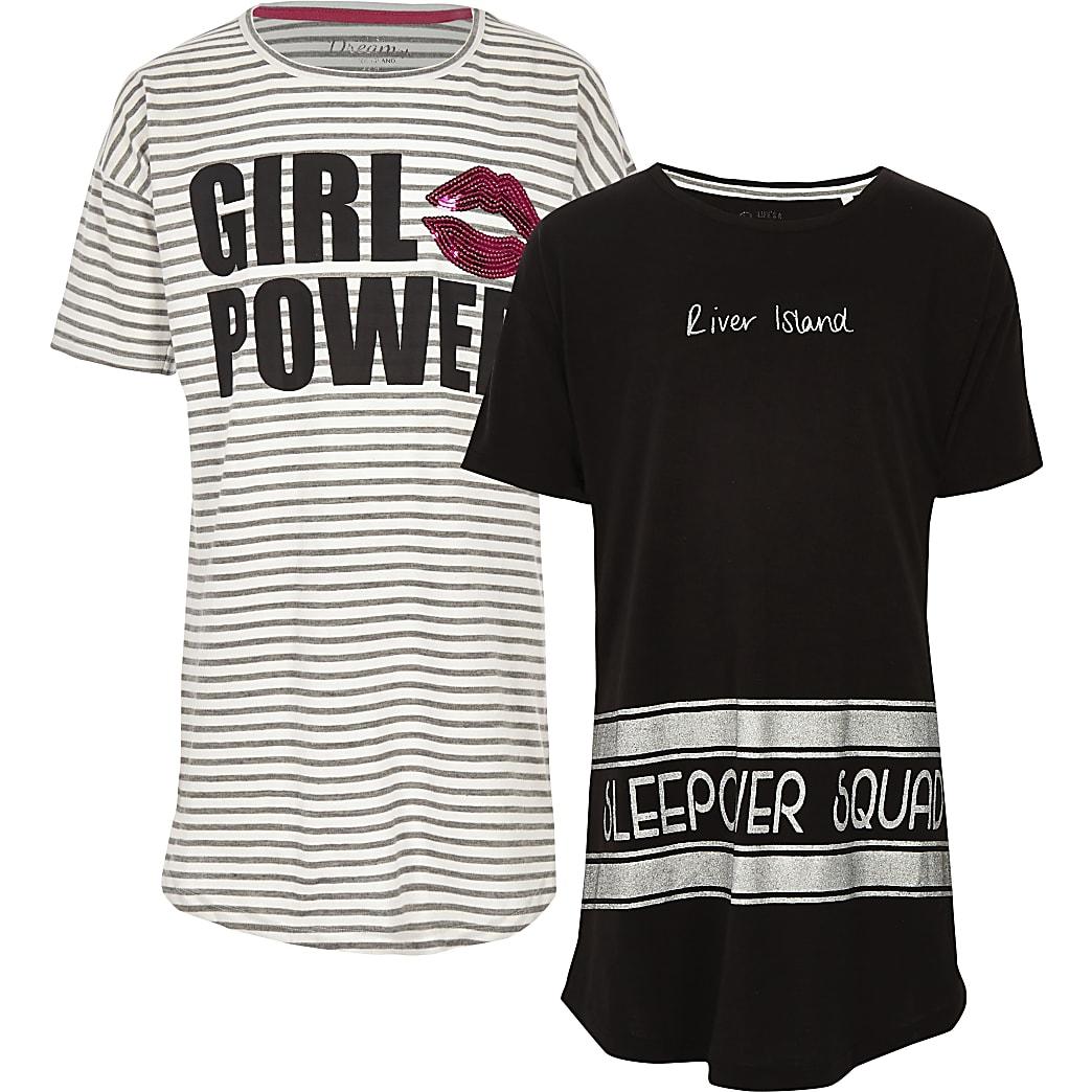 Girls grey stripe 'girl power' pyjamas 2 pack