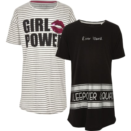 Girls grey stripe 'girl power' pyjama set