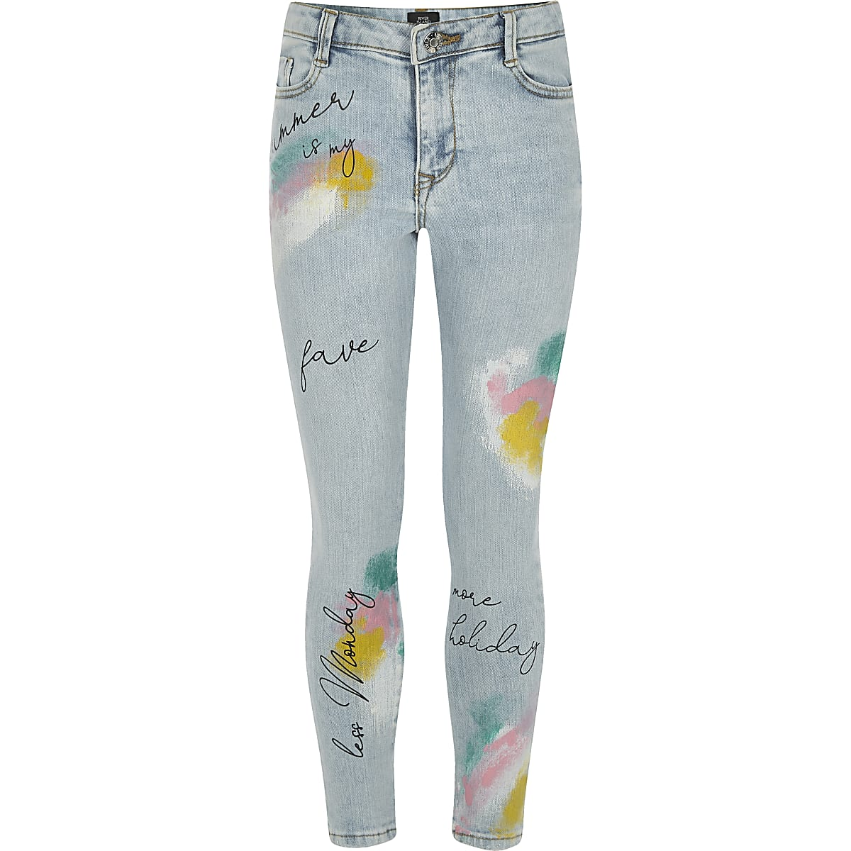 Girls blue Amelie graffiti skinny jeans
