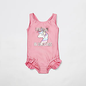 Mini girls pink unicorn print swimsuit
