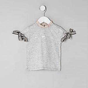 Mini girls grey 'Be amazing' frill T-shirt