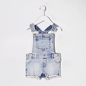 Mini girls blue short denim overalls