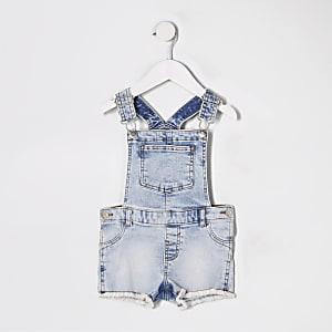 Mini - Blauwe denim tuinbroek met short voor meisjes