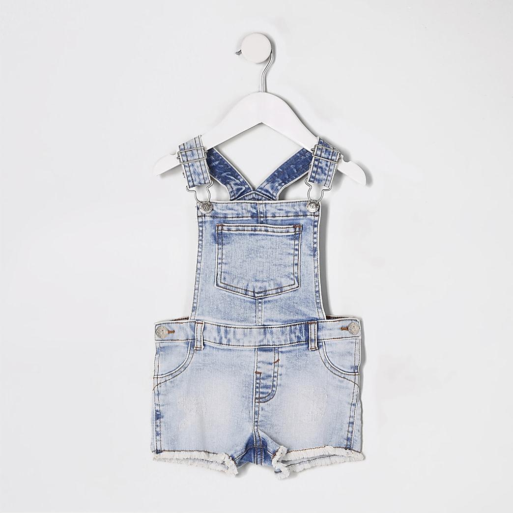 Mini girls blue short denim dungarees