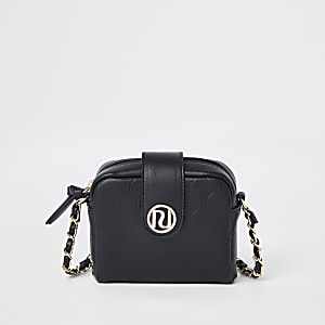 Girls black RI monogram cross body bag