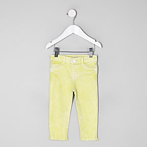 Mini girls yellow Molly frayed hem jeggings