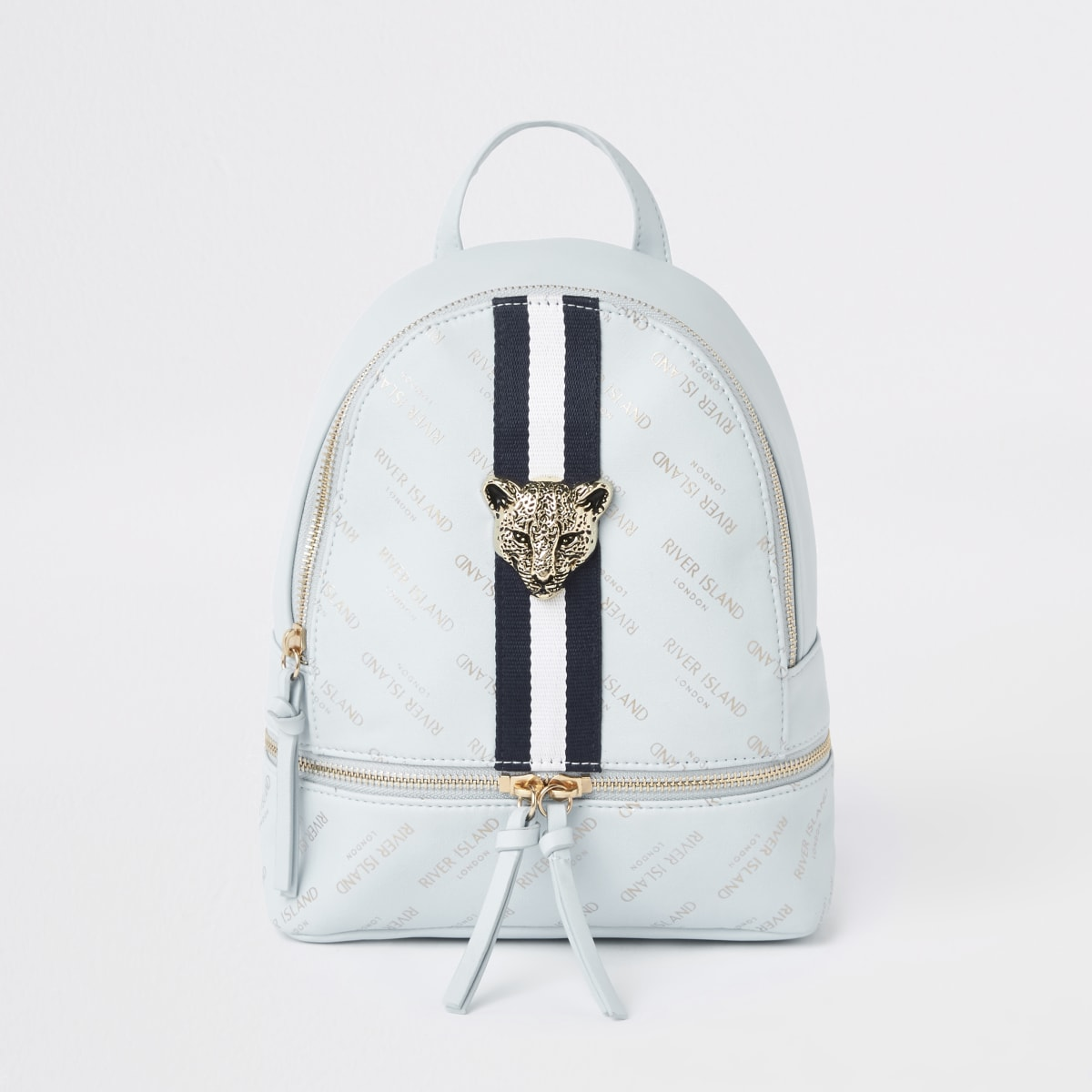 Girls blue RI leopard charm backpack
