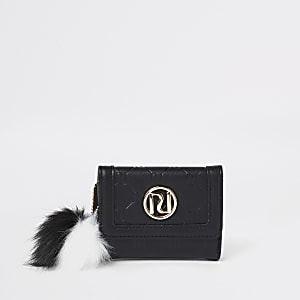 Girls black RI monogram small trifold purse