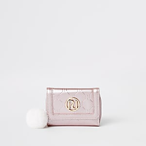 Girls pink metallic RI monogram trifold purse
