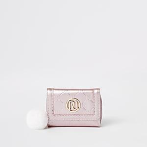 Porte-monnaie en trois parties rose métallisé à logo RI